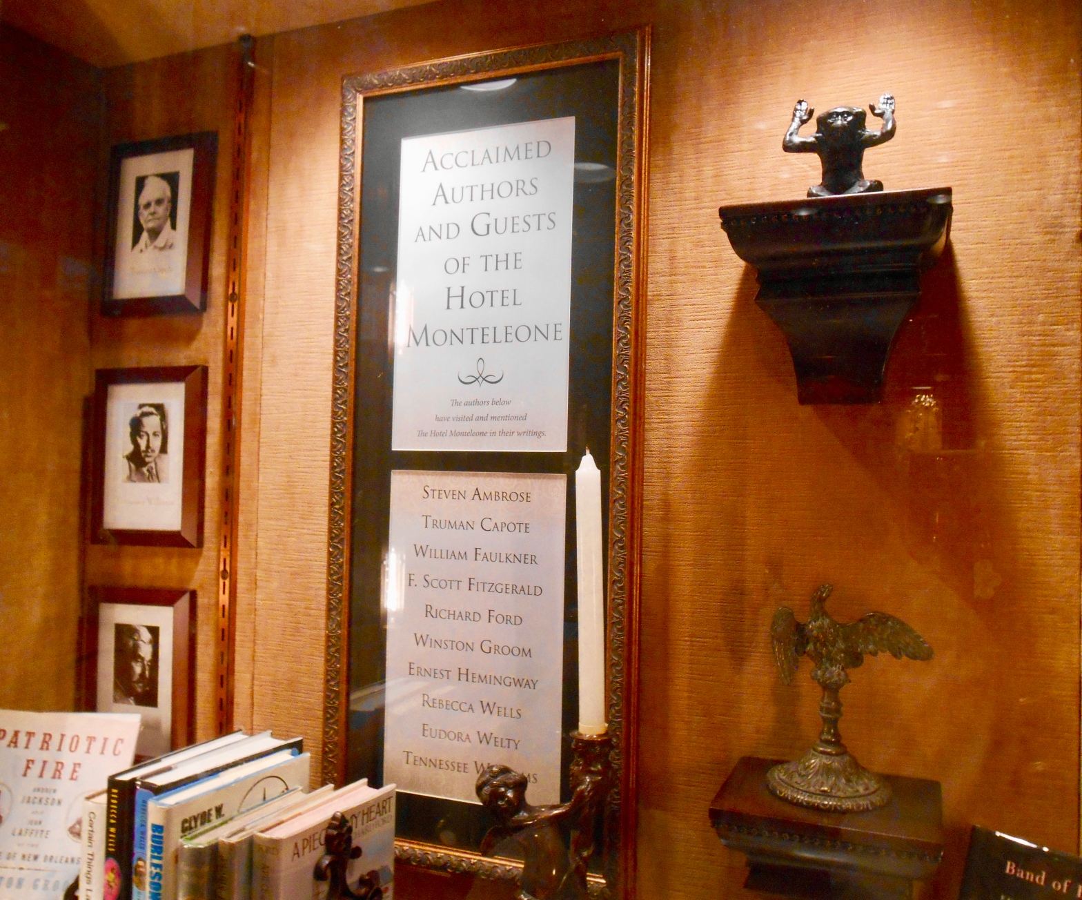 image of tribute to authors who stayed at Monteleone Hotel in New Orleans