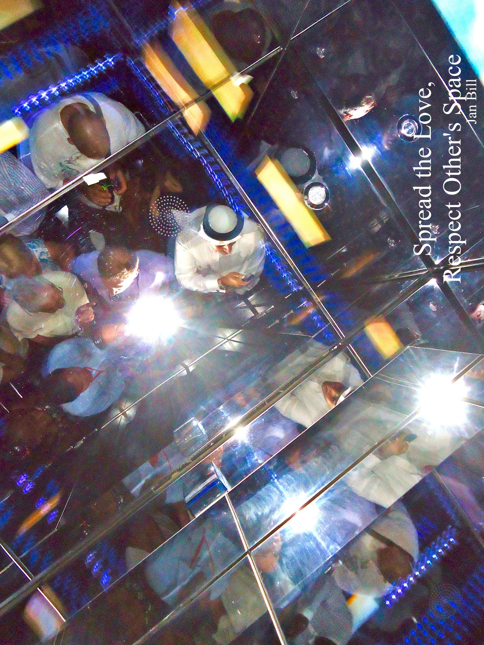 image of people on elevator in Dubai