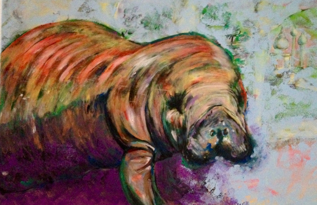 image of painting of manatee by J. Wilder Bill