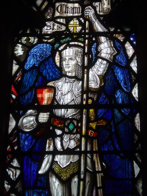 image of stain glass window of Archangel Chamuel